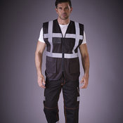 Hi vis polycotton cargo trousers with knee pad pockets (HV018T/3M)