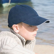 Junior low profile heavy brushed cotton cap with sandwich peak