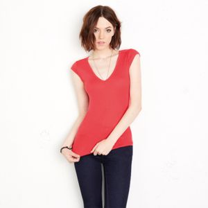 Sheer mini rib v-neck t-shirt Thumbnail