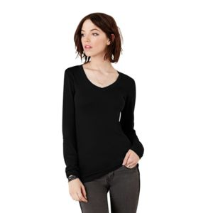Sheer mini rib long sleeve v-neck t-shirt Thumbnail