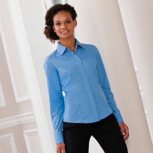 Women's long sleeve polycotton easycare fitted poplin shirt Thumbnail