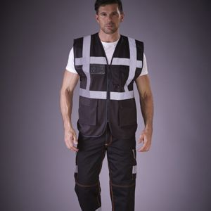Hi-vis polycotton cargo trousers with knee pad pockets (HV018T/3M) Thumbnail