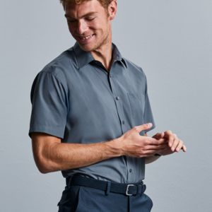 Men's Short Sleeve Polycotton Easy Care Poplin Shirt Thumbnail
